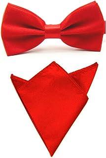 Men Satin Solid Color Pre-tied Tuxedo Bowtie Bow Tie Handkerchief Pocket Square Set (Red)
