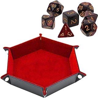 両面 ダイストレイ 六角形 PU レザー折りたたみト レイフィット 用ダイステーブルゲームキー財布 コインボックストレイデスクトップ 収納 (赤)