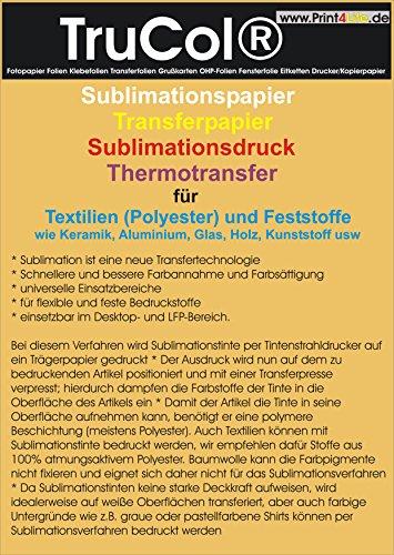 Sublimación Papel Papel de transferencia para textiles Sublimación (poliéster) y telas fijo como cerámica, aluminio, vidrio, madera, plástico, etc Din A4 (210mm x 297mm)
