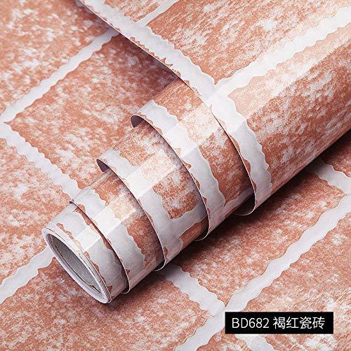 Dikke waterdichte en oliebestendige imitatie marmer patroon Stickers behang vensterbank kast Stickers 60厘米宽/每米 Bd682 Brown Red Tile
