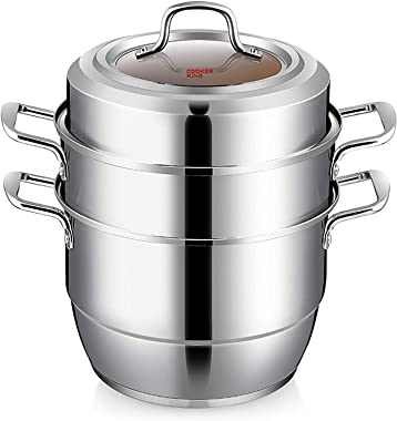 Cooker King Stainless Steel 3-Tier Food Steamer Cooking Pot with Tempered Glass Lid, Work with Gas, Electric, Grill Stove Top