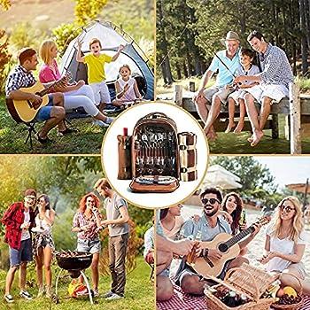 Sac à dos de pique-nique avec congélateur, bouteille / vin détachable, couverture en laine, couverts, assiettes et plats parfaits pour le plein air, sport, randonnée, camping, barbecue café 4person
