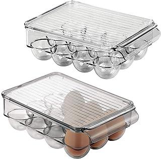 mDesign ägghållare med plats för 12 ägg – ägglåda i plast med lock för förvaring av ägg – äggställ för kylskåp eller skaff...
