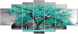 Visual Art Decor XLarge 7 Pieces Canvas Wall Art Teal Green Tree Landscape Black and White Picture Prints Framed and Stretched Painting Wall Decoration for Modern Living Room Office