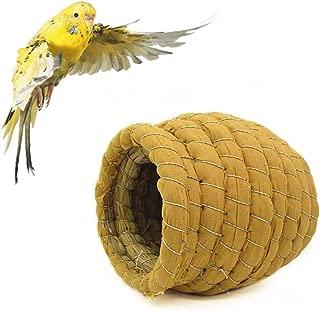YJJKJ Grass Bird Hut Handmade Woven Grass Bird Nest for Budgie Cockatiel Canary Finch Lovebird and Small Parrot