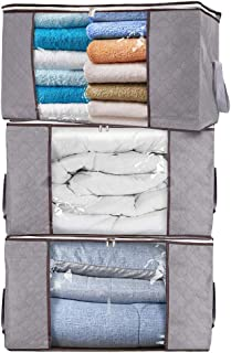 MOLOVA Large Capacity Foldable Clothes Storage Bag Organizers, Waterproof Durable Fabric, Idea for Clothes, Blankets, Comforters, Bedding, 3-Pack, 84L,Gray