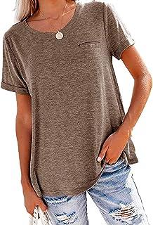 OrientalPort - Maglietta da donna con scollo rotondo, stile estivo, tinta unita, a maniche corte, con decorazione sul petto