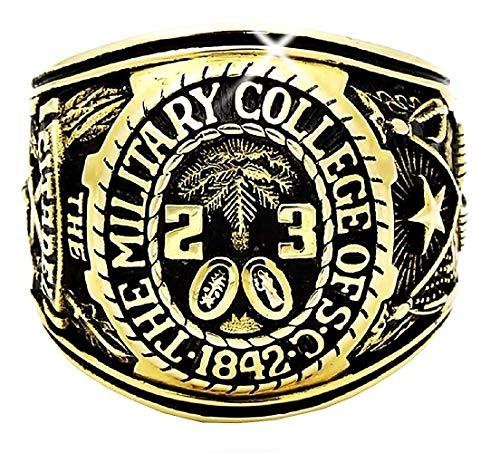 Legisdream Goldring mit Palmen Crest und Militär College of S Jewel Originelles Geschenk-Ideen für jeden Anlass 66 (21.0)