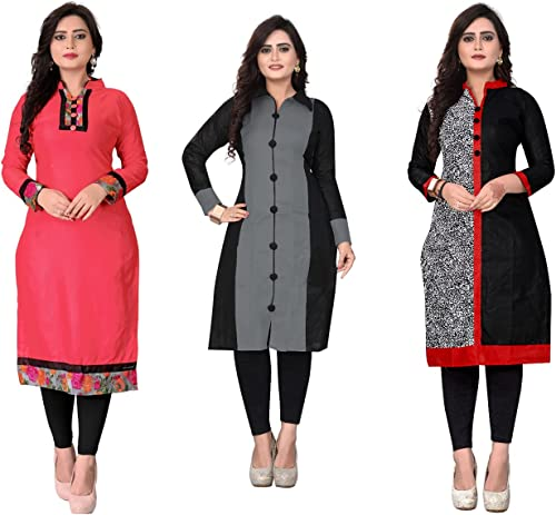 Women s A Line Crepe Printed Semi Stitched Kurti Material Multicolour Free Size Pack of 3