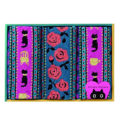 東京 西川 マタノアツコ タオルギフト フェイスタオル3枚 マタノアツコ 猫とバラ やわらか パイル ギフトボックス入り ピンク TT89300086P