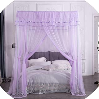 Orange Mosquito Net Princess Lace Four Corner Post Girls Bed Mosquito Net Contain Frame for Queen King Bed Drop Shipping,7,180X200X205Cm