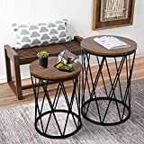 amzdeal Nesting Coffee Table with Storage, Stacking Side Table for Living Room,Modern End Table with Metal Basket and Removable Wood Top-Set of 2 (15.75''(Dia) x22.45'')