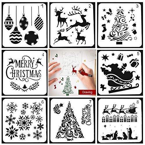 Pawaca Weihnachtsmotiven Schablonen Christmas Stencils, 8 Stück Verschiedene Weihnachten Stil Schablonen Elch Schneeflocke Schablone für Malerei auf Holz, Handwerk Kartenherstellung, Wohnkultur