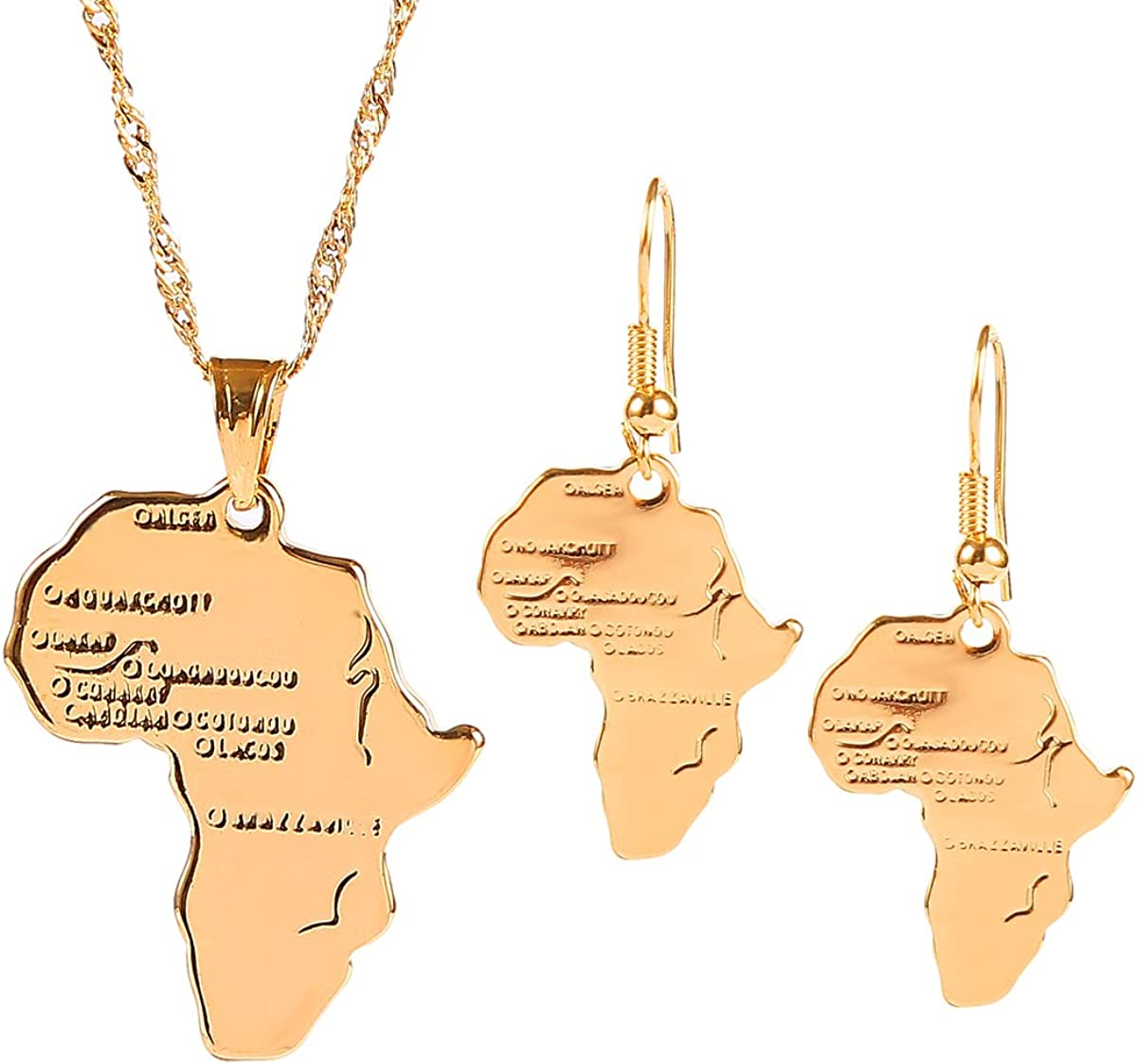 18k Gold-Plated Brass African Map Jewelry Set for Women Wedding Party