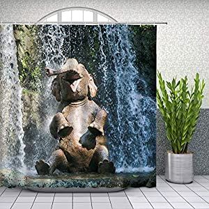 Funny Animal Shower Curtains Cute Elephant Taking a Bath Animals Play in The Water Waterfall Scenery Pattern Bathroom Set Fabric Hanging Curtain 70 x 70 Inch with Hooks