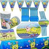 72Pcs SpongeBob Vajilla Fiesta - Miotlsy Vajilla SpongeBob Set, Fiesta de Cumpleaños Baby Showers Favores, Ideal para Postres, Comidas y Bebidas para Fiestas