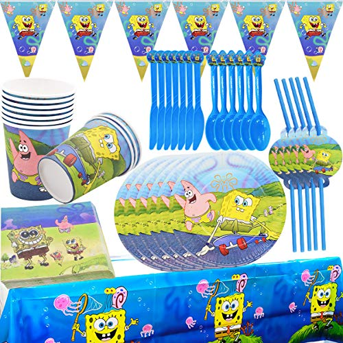 72Pcs Set Feste SpongeBob - ZSWQ SpongeBob Stoviglie, per Festa di Compleanno SpongeBob per Bambini Articoli