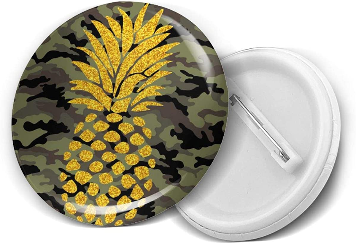 Camouflage Green Camo Yellow Gold Pineapple Round Brooch Badge Pins For Women Men Girls T Shirt Bag Backpacks Hat Accessories