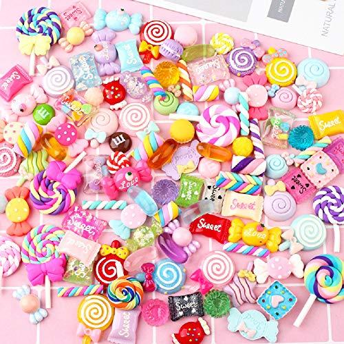 100pcs misti cute snack food Candy dolci fiore scrapbooking Kawaii resina Flatback cabochon decorazione a mano di fascino Pasqua making Supplies per scrapbooking fai da te Kit Craft Supplies, a