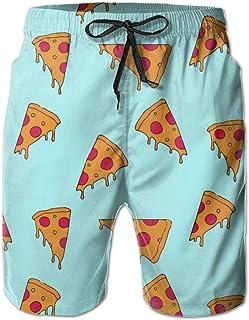 yting Patrón de Dibujos Animados de Pizza Bañadores de Natación Hombre Pantalones Cortos Playa Shorts Quick Dry Ligero Swim Shorts