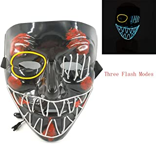 Magical Imaginary Led Mask Purge Halloween Light Up Professional Glow Stick Scary Smiley Face Changeable Party City Mask for Parties Festival Costume (One Eye)