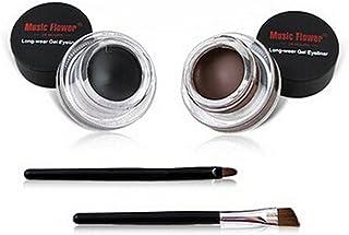 Bullidea 2 Pcs Waterproof Eyeliner Gel Set Beauty Cosmetics Make Up Lasting Gel Eyeliners with Makeup Brush,Brown and Black
