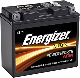 Energizer ET12B AGM Motorcycle 12V Battery, 175 Cold Cranking Amps and 10 Ahr. Replaces: YTZ12B, YT12B-BS, and others