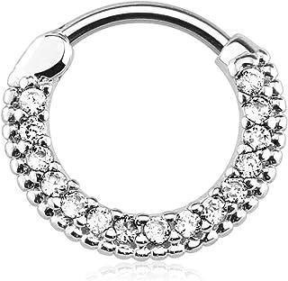 Aro con circonitas cúbicas de cristal, engastados, de forma redonda de 16 g, 10 mm de diámetro, tipo clicker, piercing para tabique y cartílago