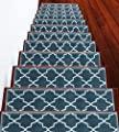 """Stair Treads Trellisville Collection Contemporary, Cozy, Vibrant and Soft Stair Treads   Teal & White, 9"""" x 28""""   Pack of 13 [100% Polypropylene]   Tape Applied"""