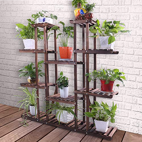 "Ufine 9 Tier Wood Plant Stand 47.2"" High Widen Carbonized 17 Potted Flower Pot Organizer Shelf Display Rack Holder for Indoor Outdoor Patio Garden Corner Balcony Living Room"