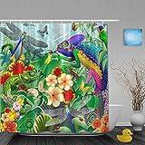 Judascepeda Duschvorhang,Dschungelchamäleons jagen Insekten Libellen Schmetterlinge Marienkäfer,Stoff Badezimmer Dekor Set mit Kunststoffhaken, enthalten - 180x210cm