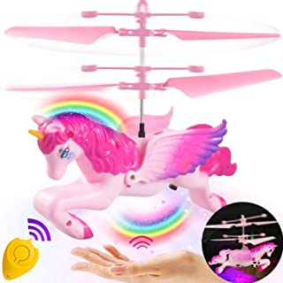 RC Flying Ball Toys,Unicorn RC Flying Helicopter Toys for Kids Boys Girls Teenagers Christmas Birthday Gifts Infrared Induction Remote Control RC Drone Light Up Toys Sports Indoor Outdoor Games