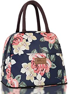 HOMESPON Lunch Bag Insulated Tote Bag Lunch Box Resuable Cooler Bag Lunch container Waterproof Lunch holder for Women/Men (large peony print)