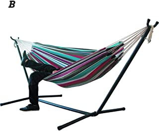 Double Cotton Hammock Without Space Saving Steel Stand,Double Hammock Hanging Chair for Garden Courtyard Indoors (Without Shelf)