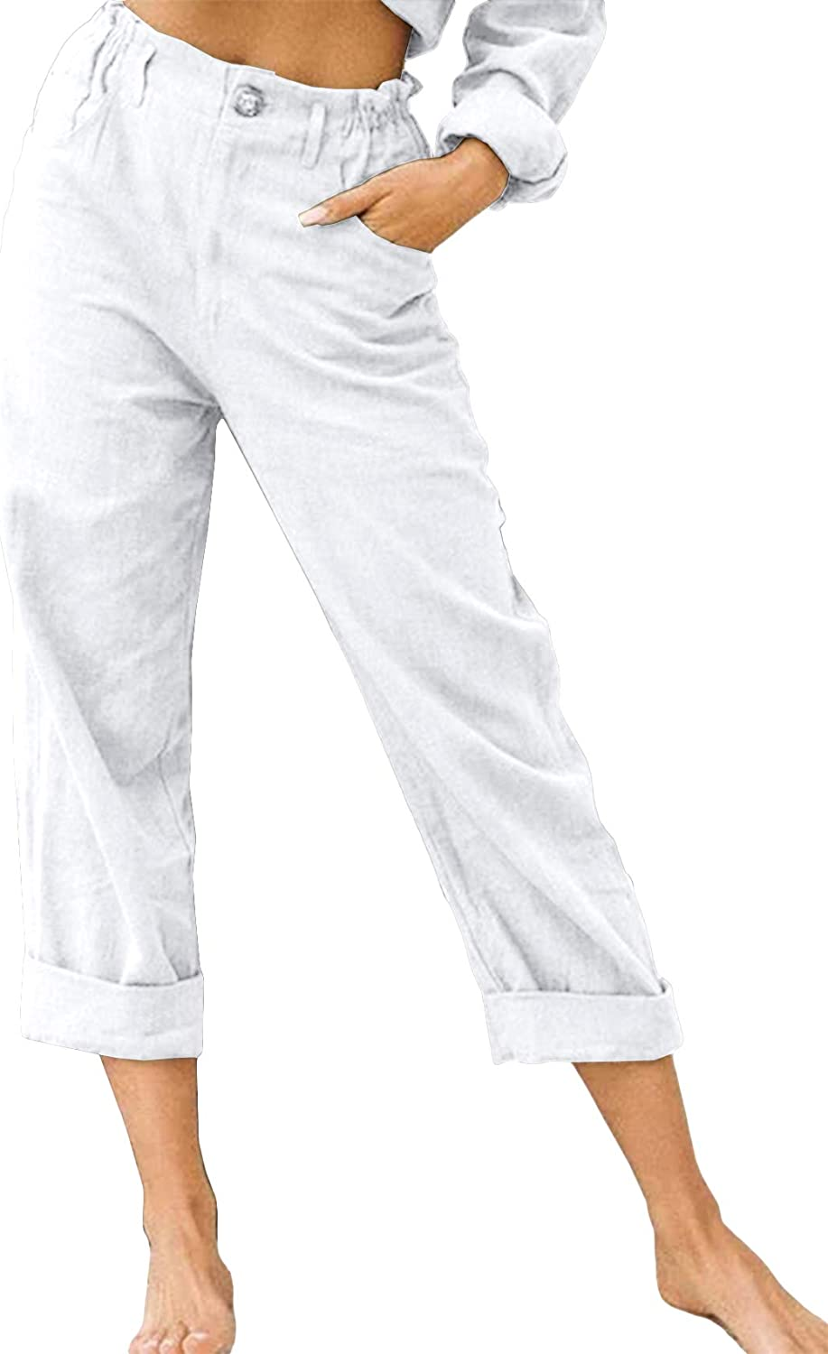 Runcati Womens Linen Cotton Pants Casual Baggy Loose Fit Beach Lounge Trousers Long Pants with Pockets