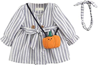 ALLAIBB Toddler Girls Striped Cotton Dress With Matching Headband And Pumkin Style Satchel Kids Casual Playwear Daily Outf...