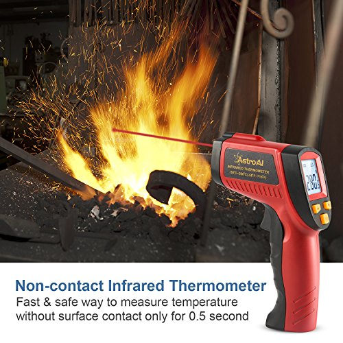 AstroAI Digital Laser Infrared Thermometer, 380 Non-contact Temperature Gun -58℉~716℉ (-50℃~380℃) for Cooking Gadgets, Barbecuing, and Other Indoor Outdoor Activities Red