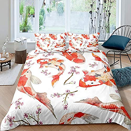 BCDJYFL 3D Duvet Cover Set Carp Microfiber Quilt Cover With Zipper Closure Ties 2 Pillow Shame For Adults And Teens Double Size.140X200Cm(No Comforter)