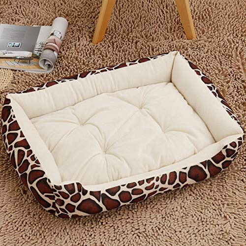 Ygccw Memory Foam Pluche Hondenbedden Hondenmand Bed Dekens Lounger Huisdier benodigdheden Herfst en winter katoen nest warm vierkant nest beige patroon 70 * 55cm