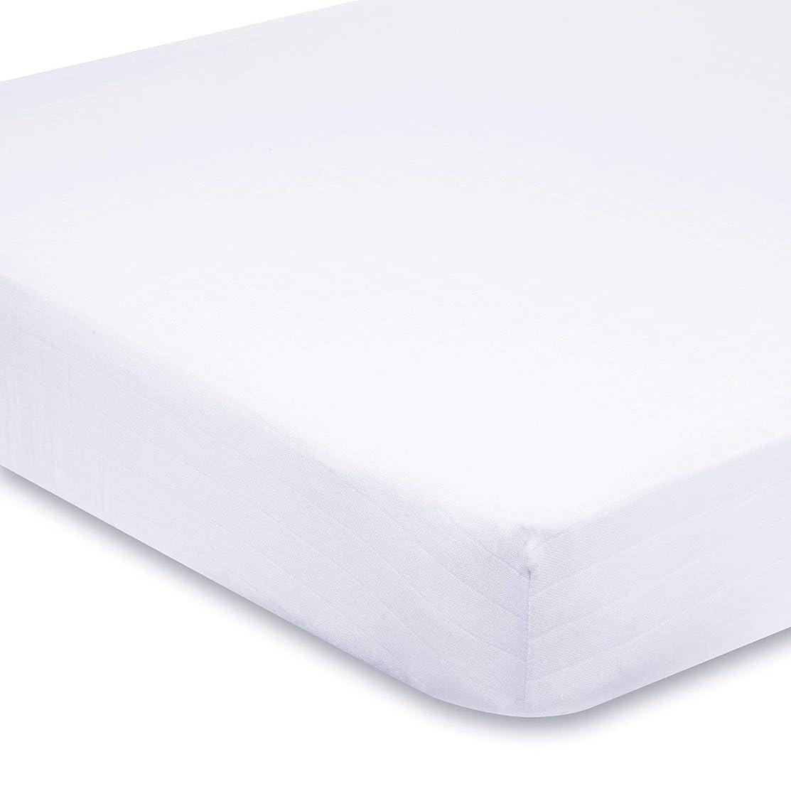 月曜日スクリーチ場所500-Thread-Count Egyptian Cotton Super Soft Extra Deep Pocket Fitted Sheet/Bottom Sheet Queen Solid White Fit Up to 21