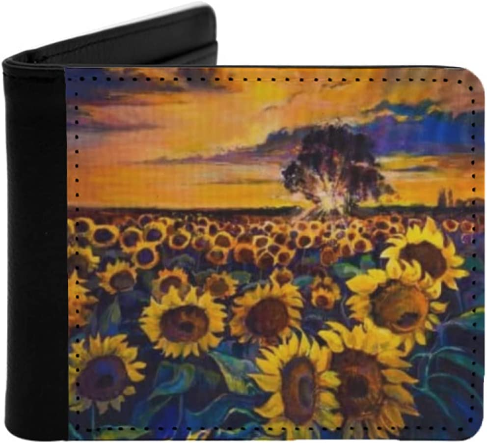 Mens Womens Slim Wallet Oil painting canvas. field Sunflower Max 89% OFF on Animer and price revision
