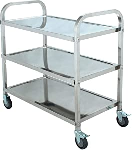 SOFEDY Stainless Steel Kitchen Cart with Wheels 3 Tier Rolling Cart with Wheels&Handle Home Bar & Serving Carts for Hotels Restaurant Home Use 200 lb Capacity 33.5x17.7x35 inch (LxWxH)