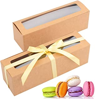 Macaron Box with Clear Window Macaron Containers for 7 or 8 Macaron Gift Box with Ribbon for Gift Giving(Brown)