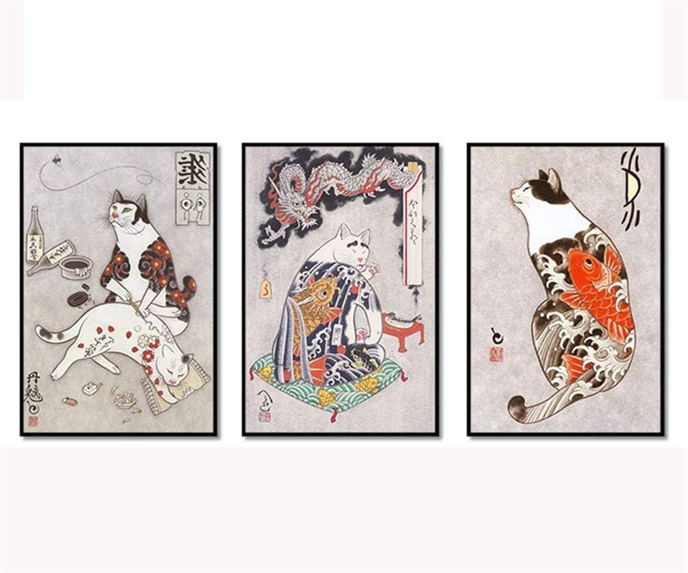 Moderne Anime Katze japanische Anime Film Kunstdruck Poster abstrakte Wand Bild Leinwand Gem/älde Kinderzimmer Dekoration rahmenlose Malerei 30x40 cm