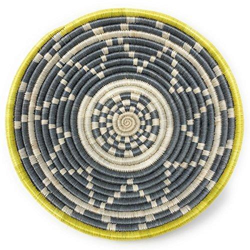 All Across Africa Handwoven 10-inch Thousand Hills Basket, Sun/Gray