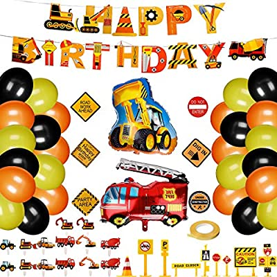 Construction Birthday Party Supplies Dump Truck Decoration Birthday Banner Balloon Construction Signs Cake Toppers Roadblock Stickers Set for Theme Party 60 Pieces