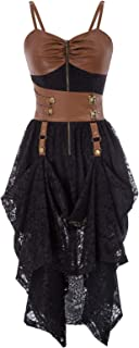 Womens Gothic Dress Steampunk Faux Leather Decorated High-Low Hem Lace Dresses
