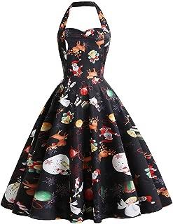 Dunacifa Womens Halter Christmas Dress Vintage Santa Claus Snowflake Print Party Dresses Xmas Dress