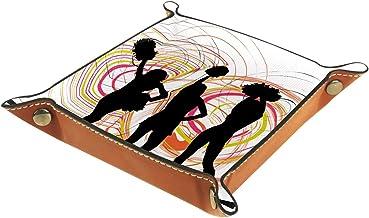 HOHOHAHA Składana taca do toczenia kości ze skóry PU do zegarka biżuteria pudełko uchwyt cheerleader 16 x 16 cm