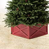 Glitzhome Wooden Box Collar Stand Cover Christmas Tree Skirt, 22' L Red
